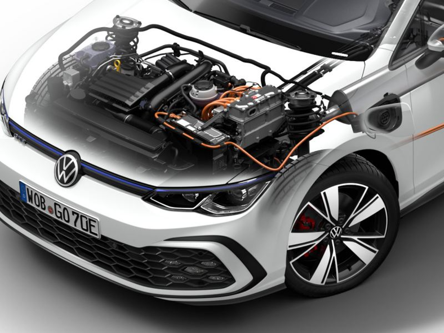Illustrasjon av motoren i VW Volkswagen Golf GTE